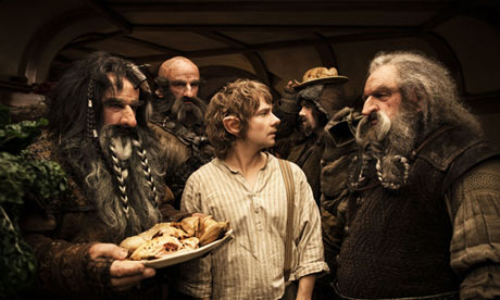 Bilbo Baggins and some dwarves in The Hobbit: An Unexpected Journey (2012)