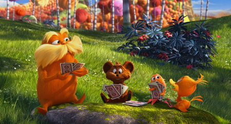 The Lorax, himself, relaxing and playing with his friends in The Lorax (2012)