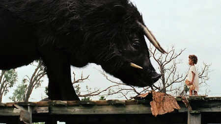 Quvezhane Wallis as Hushpuppy facing the Aurochs in Beasts of the Southern Wild (2012)
