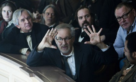 Steven Spielberg on the set of Lincoln (2012)