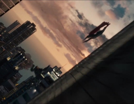 Superman flies in Man of Steel