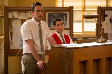Robert and Richard Sherman (B.J. Novak and Jason Schwartznam) are the songwriters behind Mary Poppins in Saving Mr. Banks (2013)