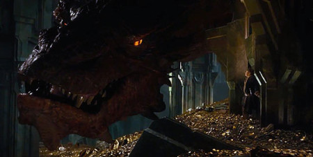 Bilbo stands up to Smaug the dragon in The Hobbit: The Desolation of Smaug (2013)