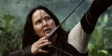 Katniss Everdeen (Jennifer Lawrence) ready for battle in The Hunger Games: Catching Fire