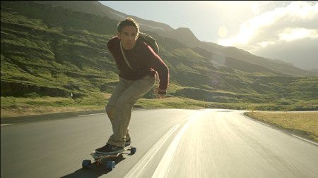 Walter Mitty (Ben Stiller) skateboards to a volcano in The Secret Life of Walter Mitty (2013)