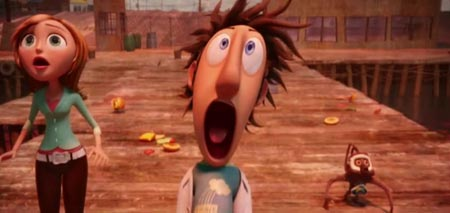 Flint Lockwood (Bill Hader) realizes his food making machine actually works in Cloudy With a Chance of Meatballs