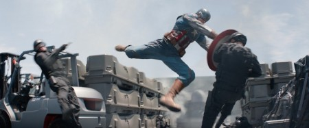 There's action abound in Captain America (Chris Evans) and Black Widow (Scarlett Johansson) are back in Captain America: The Winter Soldier (2014)