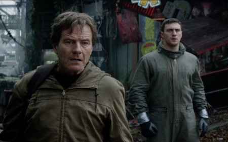 Joe (Bryan Cranston) and Ford Brody (Aaron Taylor-Johnson) are worried...very, very worried in Godzilla (2014)