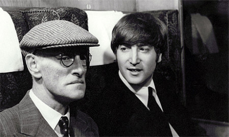 John pokes fun at Paul's grandfather  (Wilfrid Brambell) in A Hard Day's Night