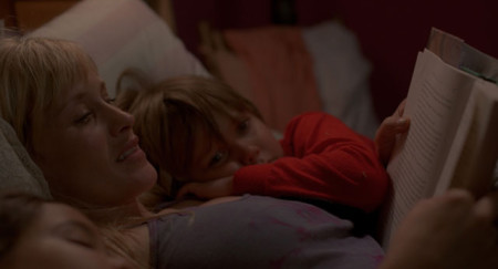 Olivia (Patricia Arquette) with Olivia (Lorlei Linklater) and Mason (Ellar coltrane) in Boyhood (2014)