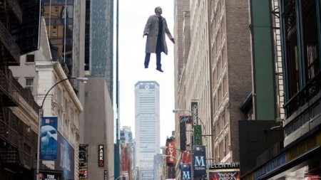 Riggan (Michael Keaton) floats above NYC in Birdman